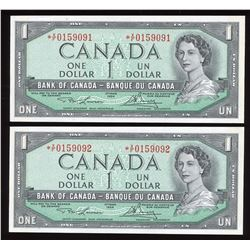 Bank of Canada $1, 1954 - Lot of 2 Consecutive Replacement Notes
