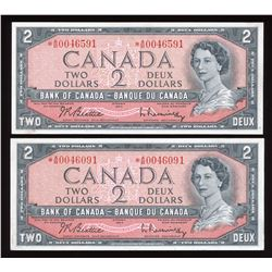 1954 Bank of Canada $2 Replacements - Lot of 2 Notes