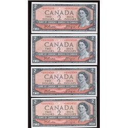 1954 Bank of Canada $2 Replacements - Lot of 4 Notes