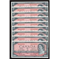 Bank of Canada $2, 1954 - Lot of 9 Consecutive Replacement Notes