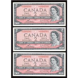 Bank of Canada $2, 1954 - Lot of 3 Consecutive Replacement Notes