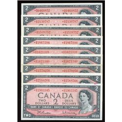 Bank of Canada $2, 1954 - Lot of 9 Replacement Notes