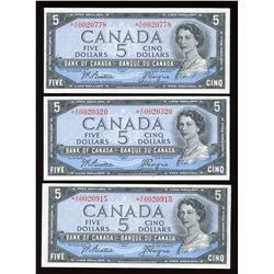 Bank of Canada $5, 1954 - Lot of 3 Replacement Notes