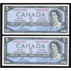 Bank of Canada $5, 1954 - Lot of 2 Consecutive Replacement Notes