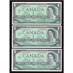 1967 Bank of Canada $1 Replacements - Lot of 3 Replacement Notes