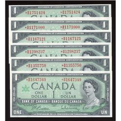 Bank of Canada $1, 1967 - Lot of 6 Replacement Notes