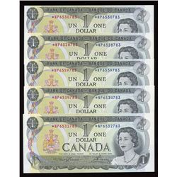 Bank of Canada $1, 1973 - Lot of 5 Replacement Notes