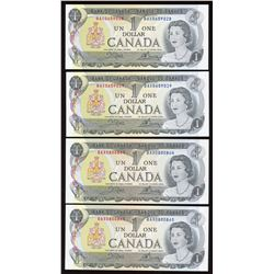 Bank of Canada $1, 1973 - Lot of 4 Consecutive Replacement Note Pairs