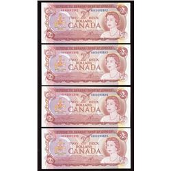 Bank of Canada $2, 1974 - Lot of 4 Consecutive Replacement Notes