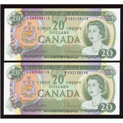 Bank of Canada $20, 1969 - Lot of 2 Consecutive Replacement Notes