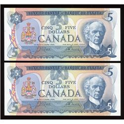Bank of Canada $5, 1979 - Lot of 2 Consecutive Notes