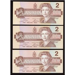 Bank of Canada $2, 1986 - Lot of 3 Replacement Notes