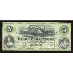Bank of Brantford $5. Nov 1, 1859
