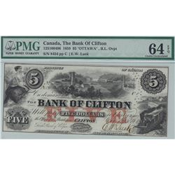 Bank of Clifton $5, 1859 - Ottawa ILL Overprint