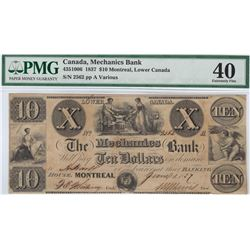 Mechanics Bank Montreal $10, 1837