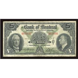 Bank of Montreal $5, 1938