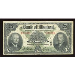 Bank of Montreal $5, 1942