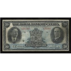 Royal Bank of Canada $20, 1927 with Neill Signature