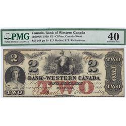 Bank of Western Canada $2, 1859