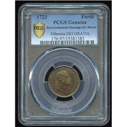 1723 Hibernia DEI GRATIA Farthing U.S.A. Colonial copper coin