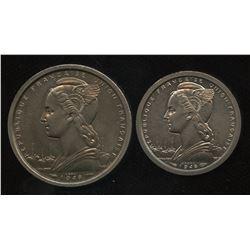 St. Pierre et Miquelon.  1940 1 Franc and 2 Franc patterns.