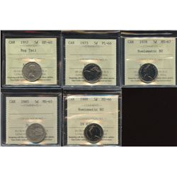 Five Cents - ICCS Graded Lot of 5