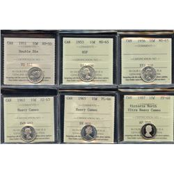 Ten Cents - ICCS Graded Lot of 6