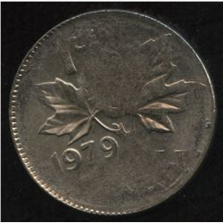 1979 One Cent Struck on Canadian Ten Cent Planchet
