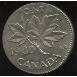 1980 One Cent Struck on Barbados Ten Cent Planchet