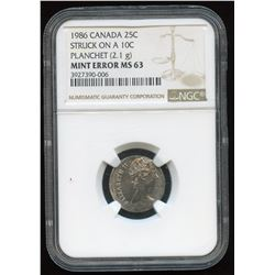 1986 Canada Twenty-Five Cents on Ten Cents Planchet