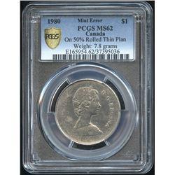 1980 Nickel Dollar Thin Planchet Error