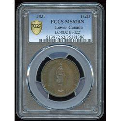 Br. 522, Lower Canada, Half Penny, Un Sou, 1837