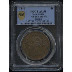 Br. 873, Nova Scotia Penny, 1840
