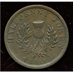 Br. 874, 1840 Nova Scotia Half Penny