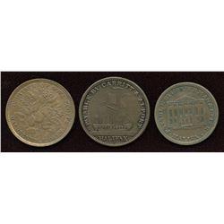 Trio of Nova Scotia Tokens: Br. 876, 881, 883.