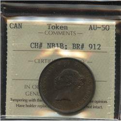 Br. 912 New Brunswick Half Penny Token, 1854