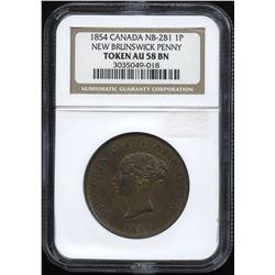 Br. 911 New Brunswick One Penny Token, 1854