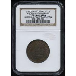 Br. 913 New Brunswick Half Penny Token, 1830 c.