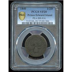 Br. 916 PEI Half Penny, Sheaf of Wheat, 1840