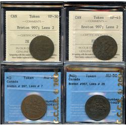 Ships Colonies & Commerce - Lot of 4 Graded Tokens