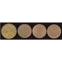 Quebec & Nova Scotia - Br. 585, 586, 587, 901.  Lot of four tokens.