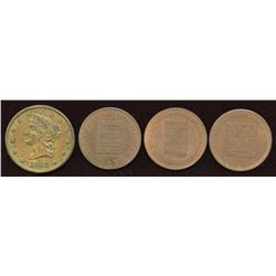 Quebec & Nova Scotia - Br. 585, 586, 587, 901.  Lot of four tokens.