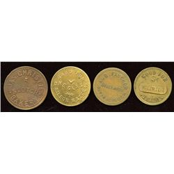 Ontario - Br. 752, 753, 852, 853.  Lot of four tokens.