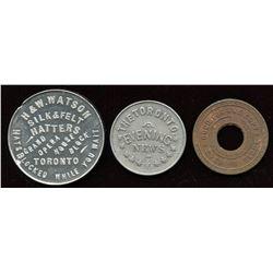 Ontario - Br. 755, 840, 847.  Three Toronto tokens.
