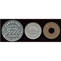 Ontario - Br. 755, 840, 847.  Three Toronto tokens.