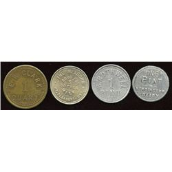 Ontario - Br. 807, 821, 822, 841.  Lot of four dairy-related tokens.