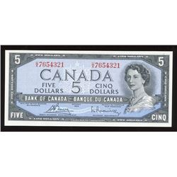 Bank of Canada $5, 1954 - Descending Ladder Numbered Note