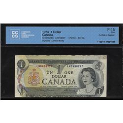 Bank of Canada $1, 1973 - Cut out of Registry Error