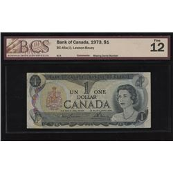 Bank of Canada $1, 1973 ERROR - Missing Serial Number