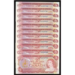 Bank of Canada $2, 1974 - Lot of 11 Sequential Prefix Radars